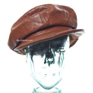 SWAG ALERT! 🔥😎 70s Leather Newsboy Cabbie Hat